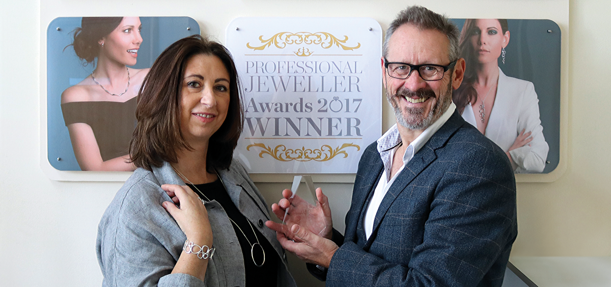 Katie Nickell (nee Heath) and Kit Heath with the Professional Jeweller Award for Fashion Jewellery Brand of the Year 2017