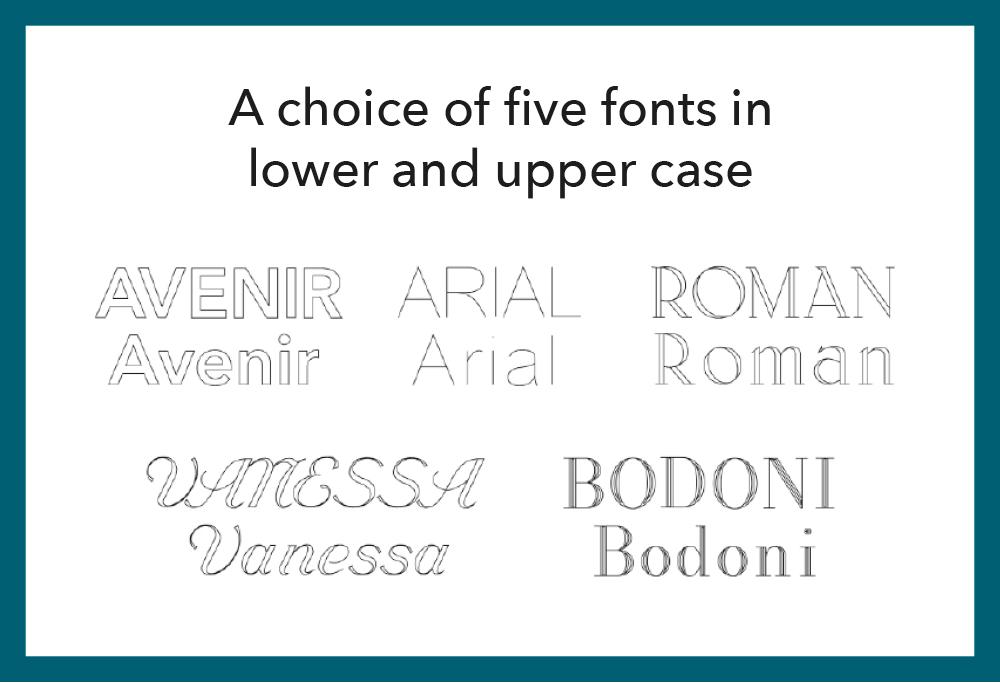 Kit Heath Engraving Service Font Options