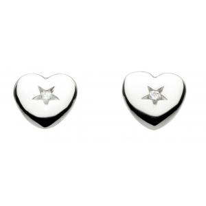 Girls Diamond Heart Stud Earrings