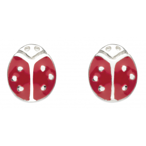 Girls Graceful Ladybird Enamel Stud Earrings