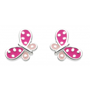 Girls Butterfly Kisses Pink Enamel Stud Earrings