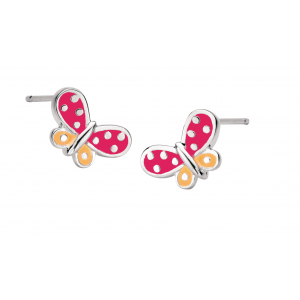 Girls Butterfly Kisses Red Enamel Stud Earrings