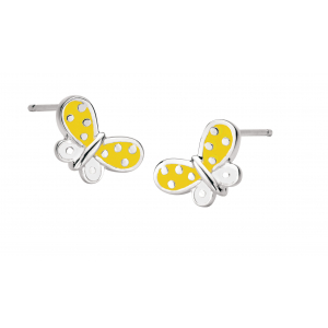 Girls Butterfly Kisses Yellow Enamel Stud Earrings