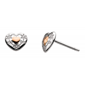 Girls Vintage Heart Rose Gold Plate Stud Earrings