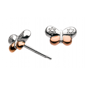 Girls Vintage Butterfly Rose Gold Plate Stud Earrings