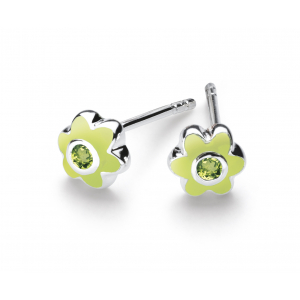 Girls August Peridot CZ Birthday Flower Stud Earrings