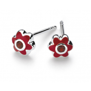 Girls January Garnet CZ Birthday Flower Stud Earrings