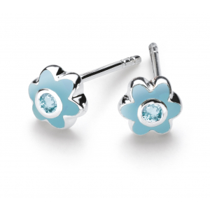 Girls March Aquamarine CZ Birthday Flower Stud Earrings