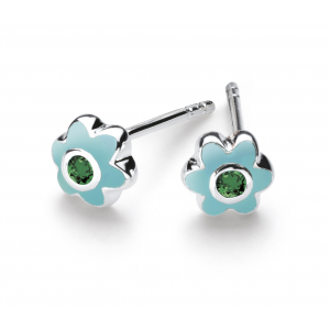 Girls May Emerald CZ Birthday Flower Stud Earrings
