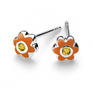 Girls November Citrine CZ Birthday Flower Stud Earrings