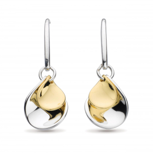 Enchanted Double Petal Gold Drop Earrings