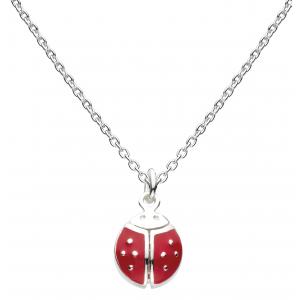 Girls Large Flying Graceful Ladybird Enamel Necklace