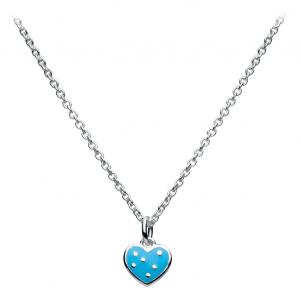 Girls Polka Dot Blue Heart Necklace