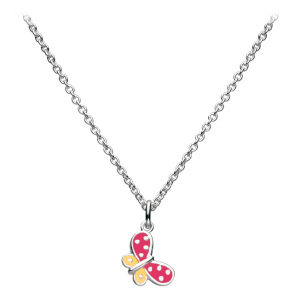Girls Butterfly Kisses Red Enamel Necklace