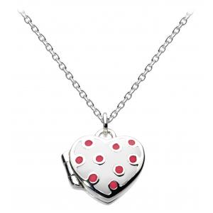 Girls Delightfully Dotty Heart White Enamel Locket Necklace