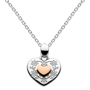 Girls Vintage Heart Rose Gold Plate Necklace