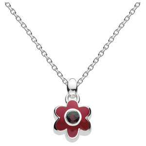 Girls January Garnet CZ Birthday Flower Necklace