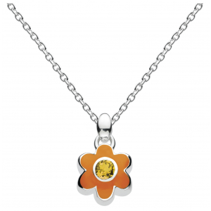 Girls November Citrine CZ Birthday Flower Necklace