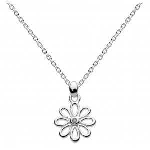 Girls Flower Petals Diamond Daisy Necklace
